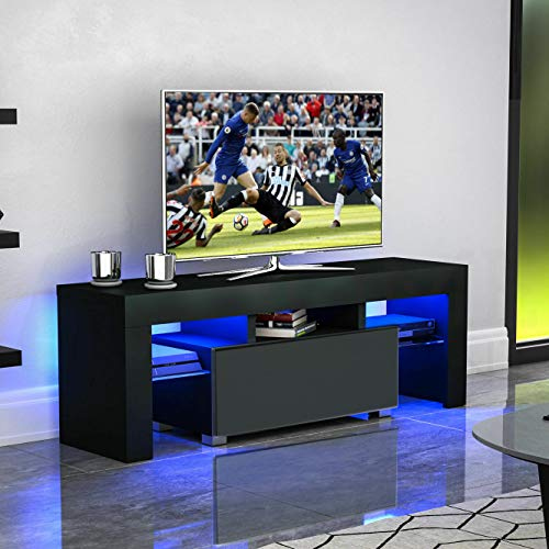 """Binrrio Modern TV Stand with LED Lights, High Gloss Television Stand Entertainment Center Console Table for Living Room, for 52"""" TV (Black)"""