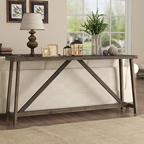 Tribesigns 70.9 Inches Extra Long Sofa Table, Solid Wood Behind Couch Table, Rustic Console Table for Living Room & Entryway