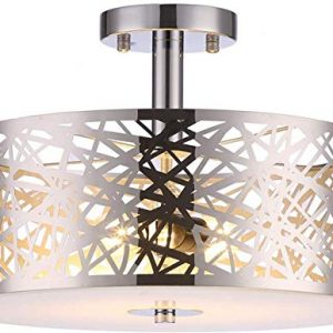 Loclgpm 2 Lights Semi Flush Mount Ceiling Light, Drum Chandelier Fixture with Metal Shade Contemporary, Brushed Nickel Finish Pendant Light for Bedroom,Living Room,Dining Room,Hall