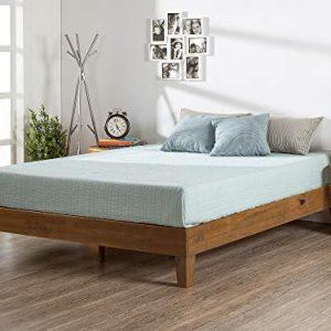 Zinus 12 Inch Deluxe Wood Platform Bed / No Boxspring Needed / Wood Slat Support / Rustic Pine Finish, Queen