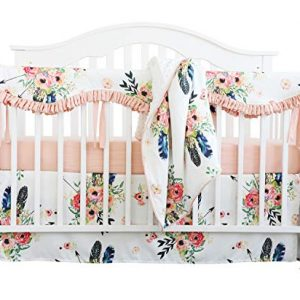 Crib Rail Guard Set Boho Floral Nursery Baby Bedding Ruffled Crib Skirt Crib Rail Cover Set (Ruffle Feather Floral)