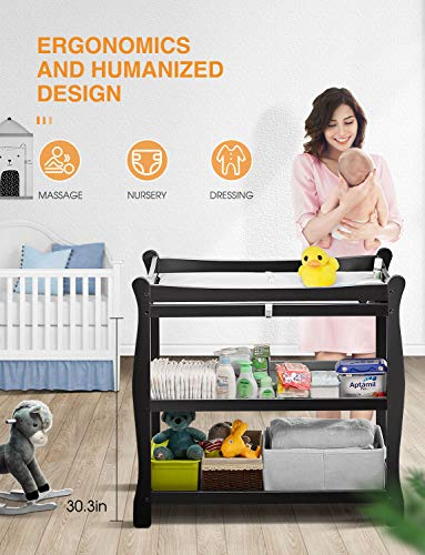 Kealive Baby Changing Table, Infant Diaper Changing Table Natural Wood Bundle Dimensions: 37.5 x 19.zero x 37.5 inches