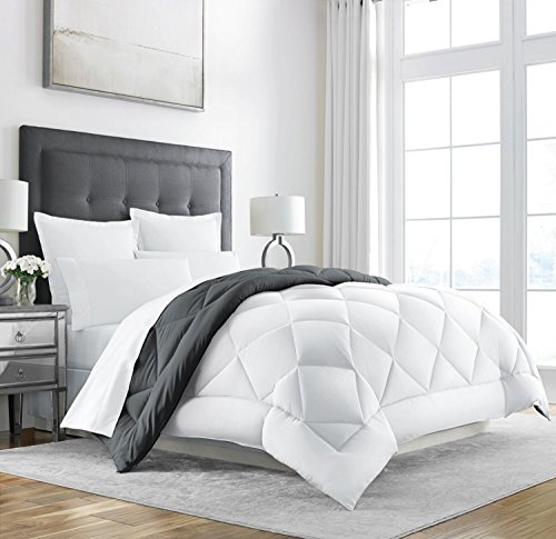 Sleep Restoration Down Alternative Comforter - Reversible - All-Season Hotel Quality Luxury Hypoallergenic Comforter -King/Cal King - Grey/White