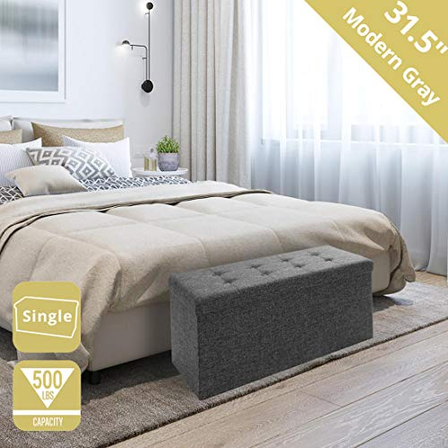 "Seville Classics 31.5"" Foldable Tufted Storage Bench Footrest Toy Chest Coffee Table Ottoman, Single, Charcoal Gray"
