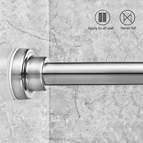 HabiLife Tension Curtain Rod 50-81 inches, Never Rust Non-Slip Spring Tension Curtain Rod No Drilling Stainless Steel Curtain Rod Use Bathroom Kitchen Home