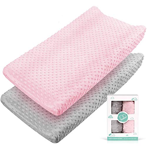 Changing Pad Covers Baby Girls Ultra Soft Stretchy Premium Changing Table Pad Cover for Girls and Boys Breathable Comfortable Diaper Changing Pad Cover - 2 Packs,Pink and Grey