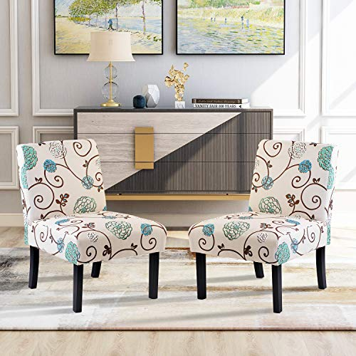 Fabric Accent Chair, Upholstered Armless Chair Single Sofa, Floral Fabric Tufted Club Chair with Solid Wood Legs for Home Living Room Furniture, Easy Assemble (Beige/Floral-Set of 2)