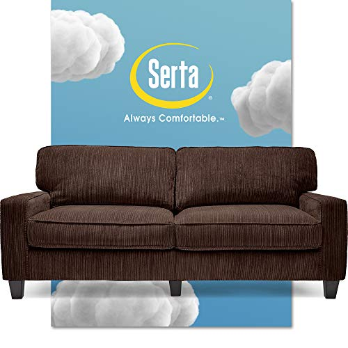 """Serta Palisades Upholstered Sofas for Living Room Modern Design Couch, Straight Arms, Soft Fabric Upholstery, Tool-Free Assembly, 78"""", Brown"""