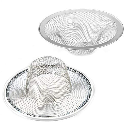 "2 pcs Heavy Duty Stainless Steel Slop Basket Filter Trap, 2.75"" Top / 1"" Mesh Metal Sink Strainer,Perfect for Kitchen Sink/Bathroom Bathtub Wash basin Floor drain balcony Drain Hole"