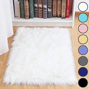 junovo Luxury Fluffy Area Rugs Furry Rug for Bedroom Faux Fur Sheepskin Nursery Rugs Fur Carpet for Kids Room Living Room Home Decor Floor Mat, 2ft x 3ft White