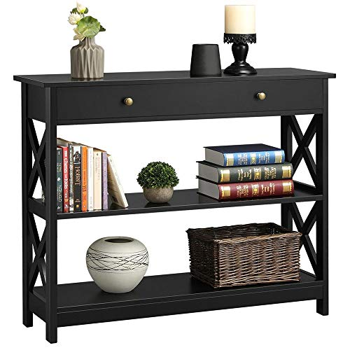 Topeakmart X Design Console Table with 1 Drawer and 2 Open Shelves Narrow Sofa Side Accent Table for Entryway Living Room