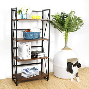 ZenStyle 4 Tier Bookshelf No-Assembly Folding Book Case Home Office Storage Ladder Shelf Industrial Standing Bookcase Organizer Book-Shelf Rack