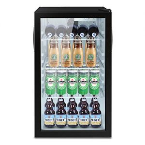 Northair Beverage Refrigerator Cooler 100 Can Mini Fridge Glass Door with 7 temp settings Glass Door Small Drink Dispenser Machine 32°F- 61°F