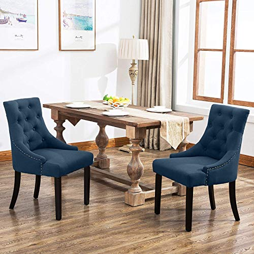 Mecor Fabric Dining Chair Set of 2, Leisure Padded Chair with Armrest,Tufted Provincial Chair European Style French Living Room Sofa, (Navy)