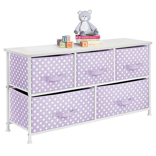 mDesign 5-Drawer Dresser Storage Unit - Sturdy Steel Frame, Wood Top and Easy Pull Fabric Bins in 2 Sizes - Multi-Bin Organizer for Child/Kids Bedroom or Nursery - Light Purple with White Polka Dots