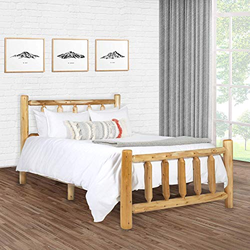 Michigan Rustics Rustic Log Bed, Lacquered Cedar Bed Frame for Rustic Bedroom, for Log Cabins, Vacation Homes, and More - King Bed Frame
