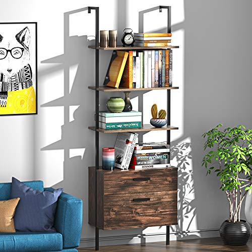 UVII Industrial Ladder Shelf with Drawers, 3 Tier Open Shelf Storage Rack Shelves Bundle Dimensions: 23.6 x 11.Eight x 70.9 inches