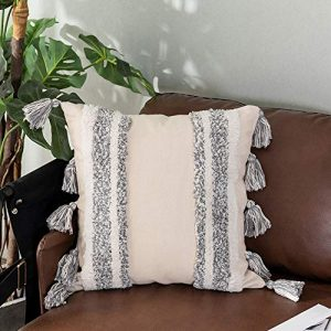 Tiffasea Decorative Throw Pillow Covers, 18x18inch Accent Cushion Cover Boho Neutral Tassels Stripe Tufted Tribal Pillow Cases Farmhouse Decor for Couch Living Room Christmas, Gray and White)