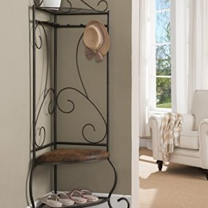 Kings Brand Corner Entryway Hallway Storage Bench With Coat Rack