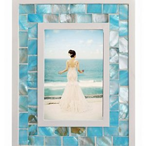 GIFTME 5 Picture Frame 4x6 Mother of Pearl Photo Frame 4 by 6,Tabletop or Wall Hanging Mosaic Picture Frame (4x6 inch, Blue,1pc)