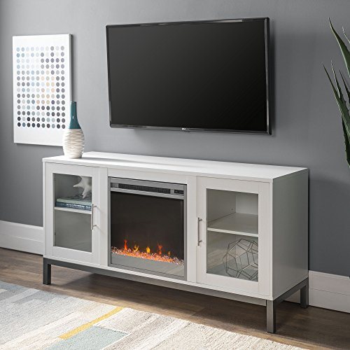"""Walker Edison Furniture Company Modern Glass and Wood Fireplace Universal Stand with Open TV's up to 58"""" Flat Screen Living Room Storage Entertainment Center, White"""