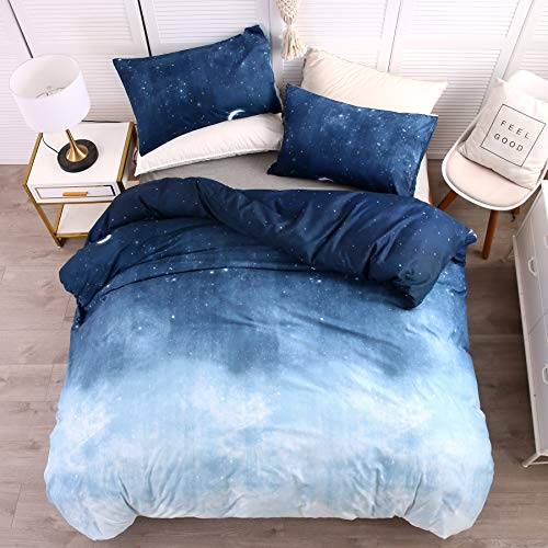 LAMEJOR Duvet Cover Set Twin Size Galaxy Outer Style Moon/Star Pattern Gradient Luxury Soft Bedding Set Comforter Cover (1 Duvet Cover+2 Pillowcases) Blue