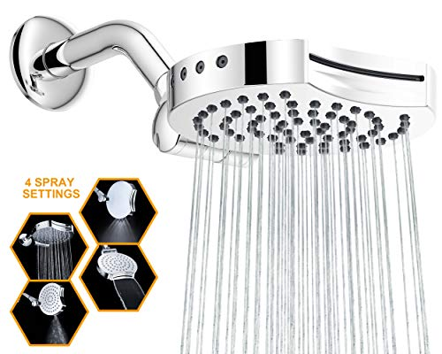 """Suptaps 6"""" Inch High Pressure 4-Settings Rain Shower Head, Fixed Chrome Showerhead - Wall Mount Adjustable 360 Degrees Direction with Easy Installation"""