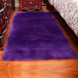 Luxury Soft Faux Sheepskin Fur Area Rugs,Small Faux Fur Rug for Bedroom Living Room Purple - 3x5ft