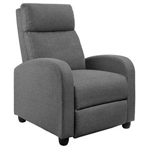JUMMICO Fabric Recliner Chair Adjustable Home Theater Seating Single Recliner Sofa with Thick Seat Cushion and Backrest Modern Living Room Recliners (Grey)