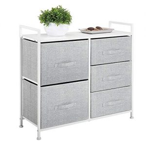 mDesign Wide Dresser Storage Tower - Sturdy Steel Frame, Wood Top, Easy Pull Fabric Bins - Organizer Unit for Bedroom, Hallway, Entryway, Closets - Textured Print, 5 Drawers - Gray/White