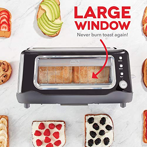 Dash Clear View Toaster: Extra Wide Slot Toaster with Stainless Steel Accents Guarantee: 1 yr restricted guarantee