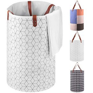"""UGHOME Large Laundry Basket,Folable Clothes Bag,Collapsible Fabric Hamper 75L,Folding Washing Bins with PU Leather Handle Canvas Storage Organizers for Kid's Toy,Clothes & Books 23.6""""(White)"""