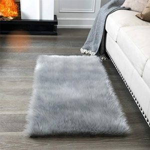 Super Soft Fluffy Rug Faux Fur Area Rug, Fur Rugs for Bedroom, Fuzzy Carpet for Living Room, 2x4 Feet, Ciicool (Light Grey)