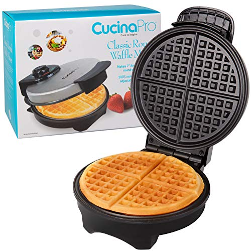 Waffle Maker- Non-stick Classic American Waffler Iron with Adjustable Browning Control- Thin, Non-Belgium Style