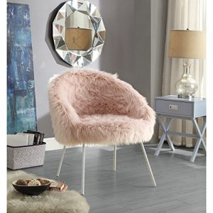 Ana Rose Fur Accent Chair - Metal Legs | Upholstered | Living Room, Entryway, Bedroom | Inspired Home