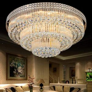 Luxury Crystal Ceiling Light Pendant Lamp Fixture Lighting Décor Flush Mount Ceiling Lamp Crystal Chandelier for Bedroom Living Room (31.5 Inches)