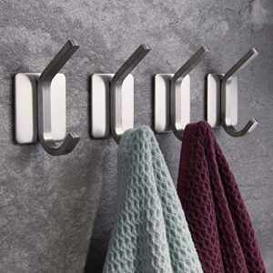 ZUNTO Towel Hook/Adhesive Hooks - Wall Hooks for Hanging Bathroom Stick on Hooks SUS 304 Stainless Steel Brushed, 4 Packs
