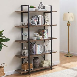 Superjare 5-Shelf Industrial Bookshelf, Open Etagere Bookcase with Metal Frame, Rustic Book Shelf, Storage Display Shelves, Wood Grain - Vintage Brown