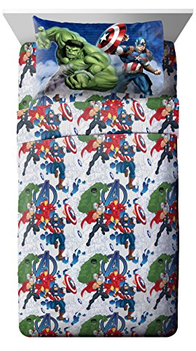 Marvel Avengers Blue Circle Twin Sheet Set- 3 Piece Set Super Soft and Cozy Kid's Bedding Features Captain America, Hulk, Iron Man, and Thor- Fade Resistant Microfiber Sheets (Official Marvel Product)