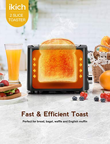 Toaster 2 Slice, IKICH 9 Bread Shade Settings Toasters Oven, Extra Wide Slots Bundle Dimensions: 7.5 x 8.5 x 11.four inches