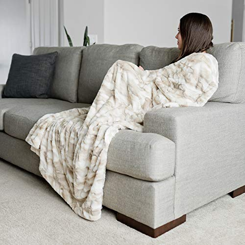 """GRACED SOFT LUXURIES Faux Fur Throw Blanket Large Warm Cozy Super Soft Throw 50"""" x 60"""", Marbled Ivory"""