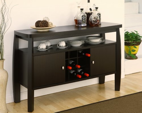 ioHOMES Clyton Contemporary 2-Door Storage Cabinet Dining Buffet with One Open Shelf and Wine Bottle Slots, Dark Espresso