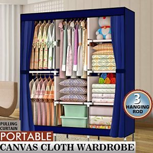 """Big Times Bedroom Armoires 71"""" Portable Closet Wardrobe Clothes Rack Storage Organizer with Shelf,Movable Clothes Hanging Rod and 8 Storage Shelves Offers You Enough Space US Delivery (Blue)"""