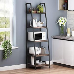 "O&K FURNITURE 5-Shelf Ladder Bookcase, Leaning Bookcases and Book Shelves, Industrial Rustic Bookshelf, Home Office Etagere Bookcase-Height: 72""H, Gray-Brown Finish (1-pc)"