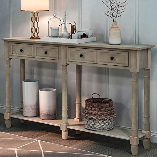 Retro Console Table Sofa Table for Entryway with Drawers and Shelf Living Room Table (Antique Grey)