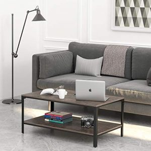 IRONCK Industrial Coffee Table for Living Room, with Storage Shelf, Rivet Design, Wood Look Accent Furniture, Dark Brown