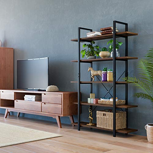 Homfa Bookshelf, 5-Tier Industrial Bookcase, Open Storage Display Shelves Package deal Dimensions: 47.zero x 13.zero x 70.zero inches