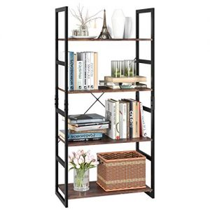 Homfa Bookshelf Rack 4 Tier Vintage Bookcase Shelf Storage Organizer Modern Wood Look Accent Metal Frame Furniture Home Office