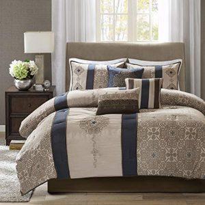 Madison Park Donovan Cal King Size Bag-Taupe, Navy, Jacquard Pattern – 7 Pieces Bedding Sets – Ultra Soft Microfiber Bedroom Comforters