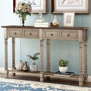 P PURLOVE Console Table Sofa Table with Storage for Entryway with Drawers and Shelf Rectangular Living Room Table (Distressed Gray)